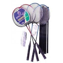 Set badminton 4 rachete, fileu si 2 fluturasi